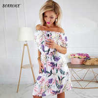 2020 Summer Fashion Sexy Dress Women One Word Collar Printed Flowers Dresses Temperament Waist Beautiful Dress White Party