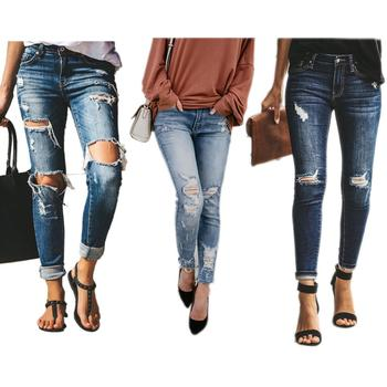 Explosion female feet pants slim pencil pants ripped jeans high waist women pants casual stretch jeans hot women jeans coyote valley 2017 hot style fine elastic jeans women s cotton hole in pencil and feet high quality jeans high waist jeans