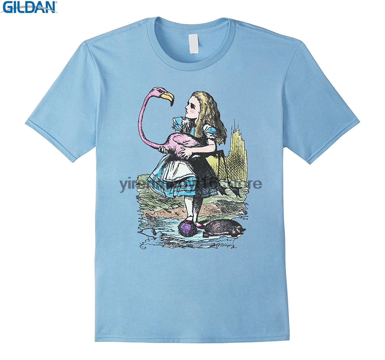 100% Cotton O-neck custom printed T-shirt Alice in Wonderland with Flamingo and Hedgehog Shirt A27