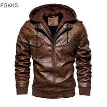 FGKKS ผู้ชายรถจักรยานยนต์หนังแจ็คเก็ตฤดูหนาวชายแฟชั่น Casual Hooded เสื้อ Faux Mens WARM PU แจ็คเก็ตหนังเสื้อ
