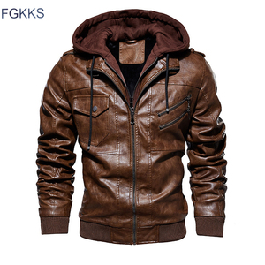 Image 1 - FGKKS Men Motorcycle Leather Jackets Winter Male Fashion Casual Hooded Faux Jacket Mens Warm PU Leather Jackets Coats