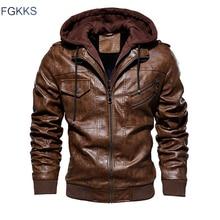 Мужская мотоциклетная куртка FGKKS, модная повседневная теплая куртка из искусственной кожи с капюшоном, пальто на зиму