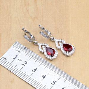 Image 4 - Water Drop 925 Sterling Silver Jewelry Red CZ Stone Jewelry Sets Women Earrings/Pendant/Necklace/Open Rings/Bracelet