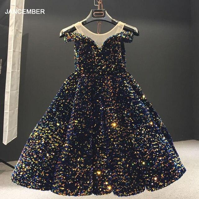 J66991 Jancember Mädchen Blume Kleid Kurzen Ärmeln Weg Von Der Schulter Garn Pailletten Indigo Blau Nacht Kleider vestido comunión niña