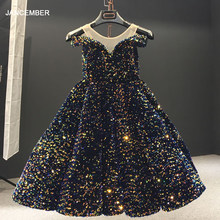 J66991 jancember formal evening gown short dresses with sleeves off shoulder yarn sequin Indigo blue night dress robe de soiree(China)