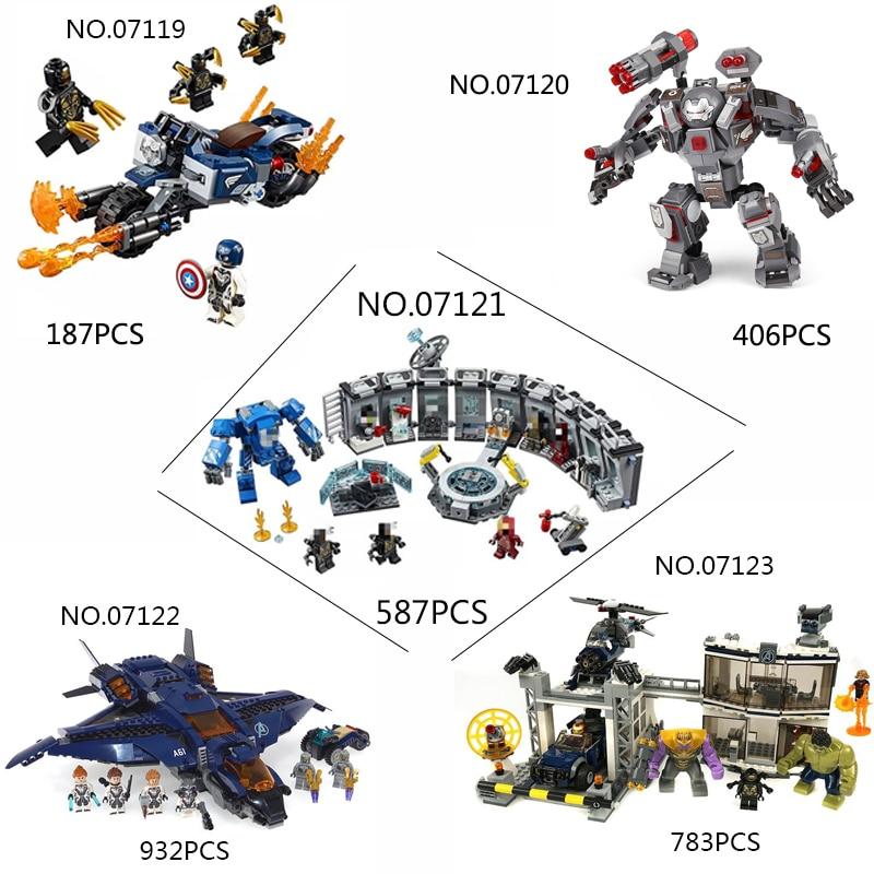 07119 07120 07121 Avengers 4 Endgame Ultimate Quinjet Set Compatible With Legoing76130 76129 76126 76131Building Block Brick Toy
