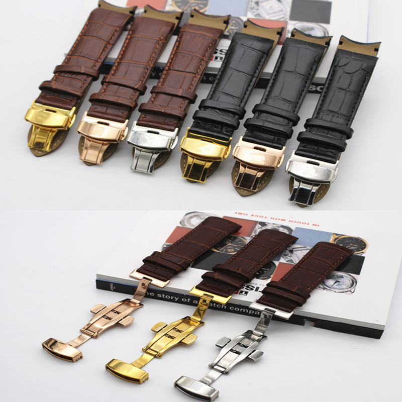 Curved Genuine Leather Watchband 22mm 23mm 24mm For Couturier T035 Watch Band Butterfly Clasp Strap Wrist Bracelet DIY Replace
