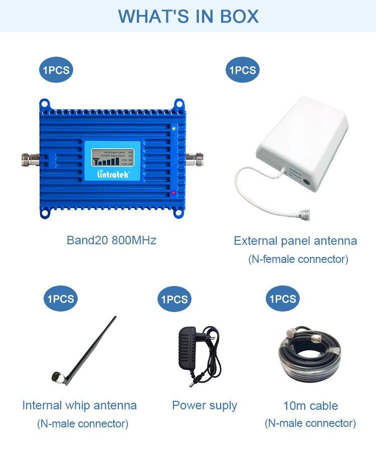 Lintratek 4G LTE 800 МГц Репитер сигнала band 20 Интернет усилитель сотовой связи AGC ALC усилитель для домашнего использования в Европе