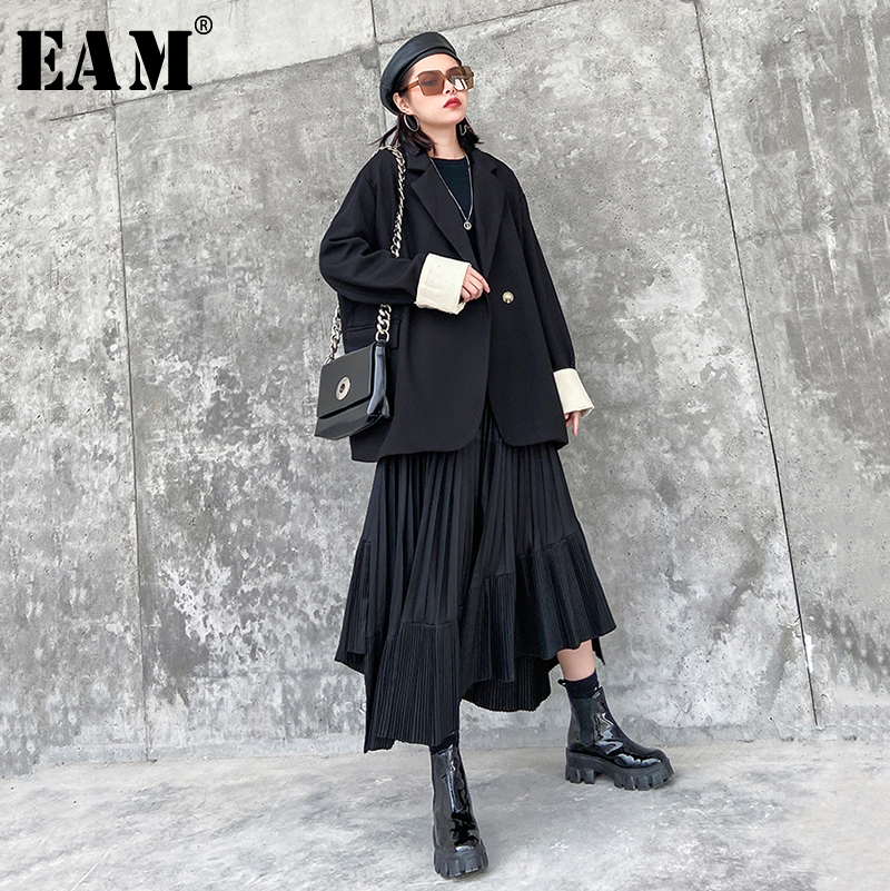 [EAM]  Women Black Contrast Color Big Size Blazer New Lapel Long Sleeve Loose Fit  Jacket Fashion Tide Spring Autumn 2020 1R442