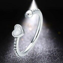 HUAMI proste pierścienie serce otwarte regulowany palec serdeczny dla kobiet biżuteria miedzi ślub prezent zaręczynowy Regalos Para Mujer Bagu