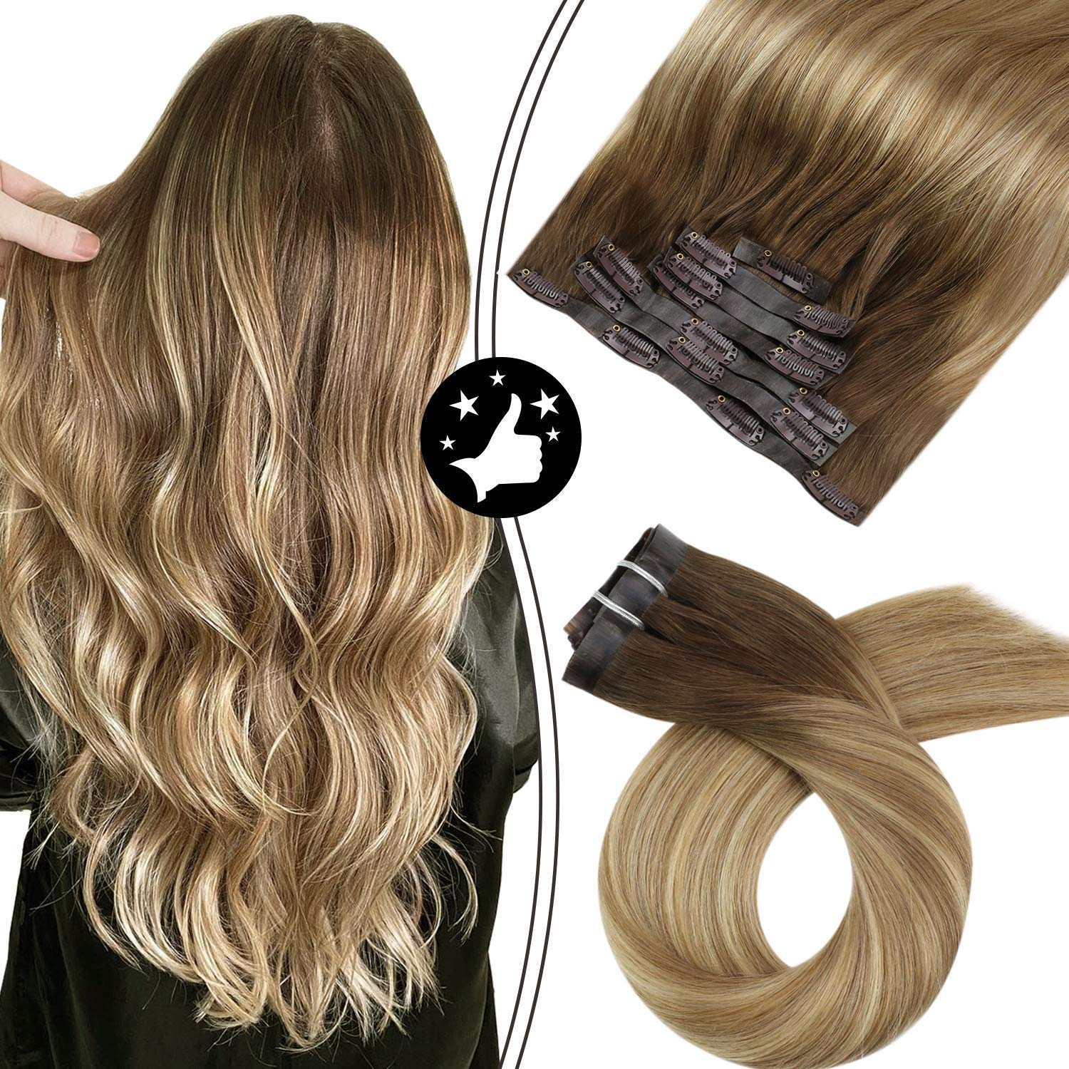 PU Clip in Hair Extensions Real Human Hair Seamless Invisible 100g 7pcs Balayage Ombre Color #3/8/22 Machine Remy Hair Natural