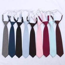 Школьная форма для японской средней школы, японский высокий школьный стиль, Одноцветный галстук, милый галстук для девочек, без завязывания, регулируемый узел