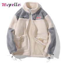 Men Fleece Jacket Winter Casual Warm Thick Jackets Parkas Patchwork Windproof Outwear Parka Coat For