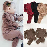 Neugeborenen Baby Mädchen Rüschen T-Shirt Tops Leggings Hosen 2Pcs Outfits Set Kleidung Langarm Herbst Winter Warme Kleidung
