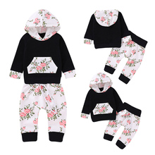 Newborn Baby Girl Hoodie Fall Clothes Long Sleeve Floral Sweatshirt with Pocket Tops Pants Infant Toddler Outfit Sets D20 newborn kids outfit baby boy girl clothes hoodie sweatshirttops pants gift sets
