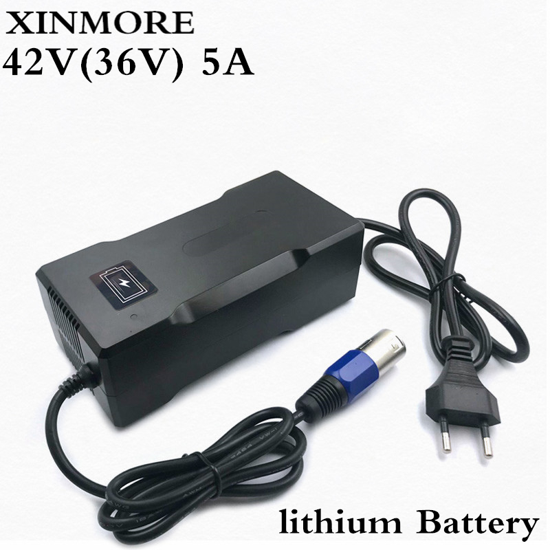 XINMORE Charger 42V 5A Scooter Lithium Li-ion Battery Charger Bike AC-DC 36V 5A for Switch Bicycle Electric Tool XLB Plug