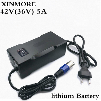 XINMORE Charger 42V 5A Scooter Lithium Li-ion Battery Charger Bike AC-DC 36V 5A for Switch Bicycle Electric Tool XLB Plug 67 2v 1 5a charger 60v 1 5a power adapter for 60v 16s lithium li ion e bike bicycle electric bike battery 3 prong inline