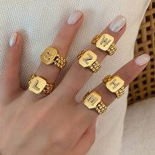 Bague de montre hip hop ajustable en or plaqué or 14 carats, AAA Zircon 2021 lettre, bracelet de montre, déclaration carrée, initiales en or pour femmes, A-Z