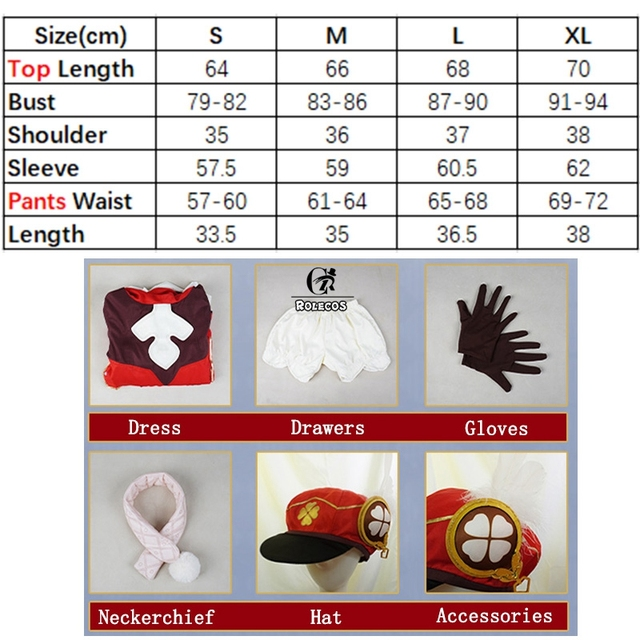 ROLECOS Genshin Impact Cosplay Costume Klee Cosplay Costume Women Red Costume Cute Girl Halloween Dress Pants Glove Hat Full Set 6