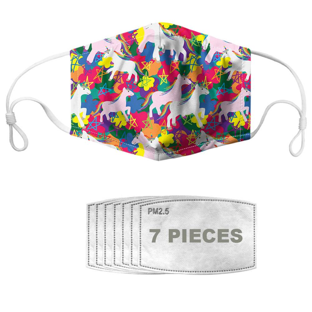 NOISYDESIGNS 1pc Mouth Masks With 7pcs Filters PM2.5 Colorful Horse Pattern Anti Dust Half Muffle Face Cover Kpop Reusable Mask