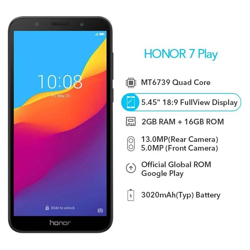 Oryginalny Honor 7 Play 2G 16G 4G LTE MT6739 czterordzeniowy 5.45 Cal 1440*720P 13.0MP Android 8.1 aktualizacja OTA telefon komórkowy