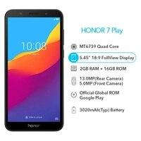 Original Honor 7 jugar 2G 16G 4G LTE MT6739 Quad Core 5,45 pulgadas 1440*720P 13.0MP Android 8,1 Actualización de OTA teléfono móvil