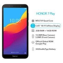 Original Honor 7 Spielen 2G 16G 4G LTE MT6739 Quad Core 5,45 Zoll 1440*720P 13,0 MP Android 8,1 OTA Update Handy