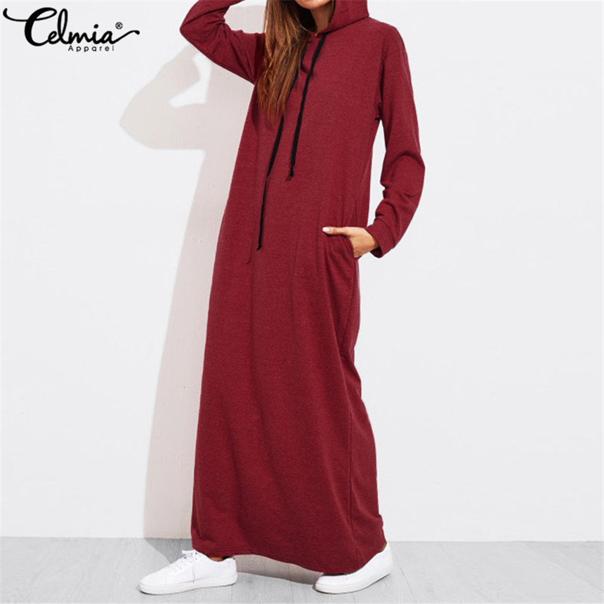 Celmia de talla grande mujeres Maxi Vestido de otoño con capucha Vestido sudadera femenina de manga larga Hoodies invierno Pullover Vestido Robe Femme