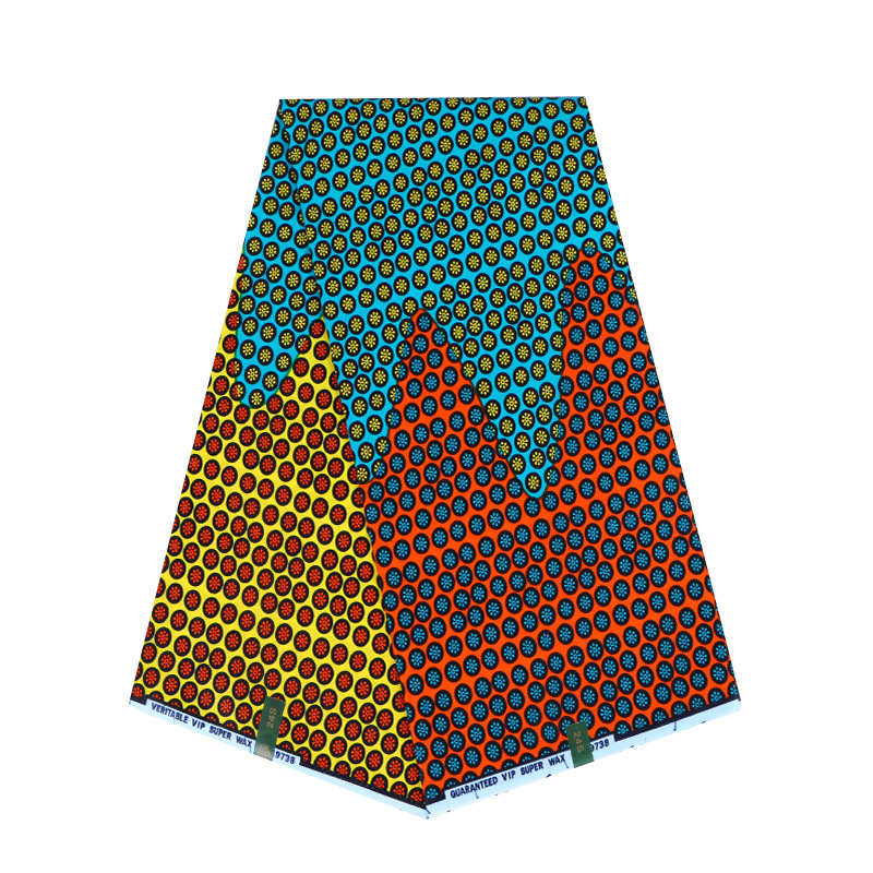 Latest Fashion Design Blue Red & Yellow Colour Print Fabric Pagnes African Real Wax 6yard