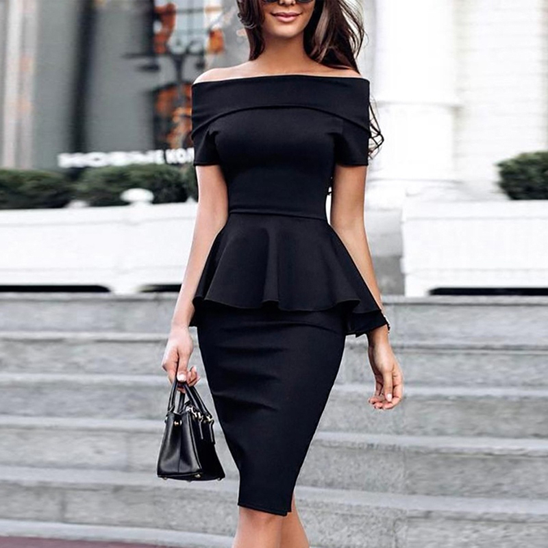 2019 Women Summer New Slash Neck Off Shoulder Ruffle Office Lady Elegant Slim Fit Party Dress Fold Over Peplum Slinky Midi Dress