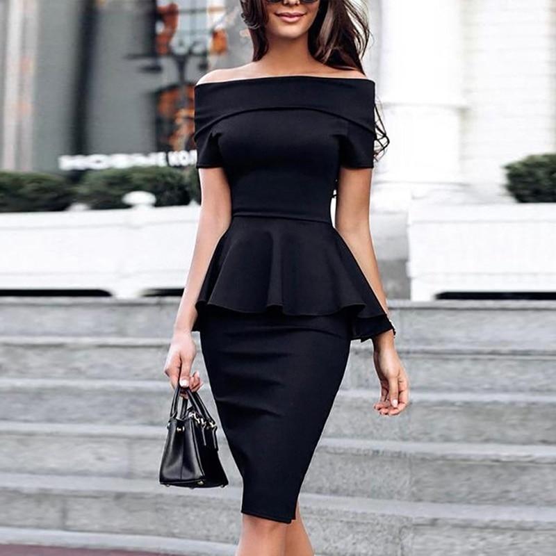 2019 Women Summer New Slash Neck Off Shoulder Ruffle Office Lady Elegant Slim Fit Party Dress Fold Over Peplum Slinky Midi Dress