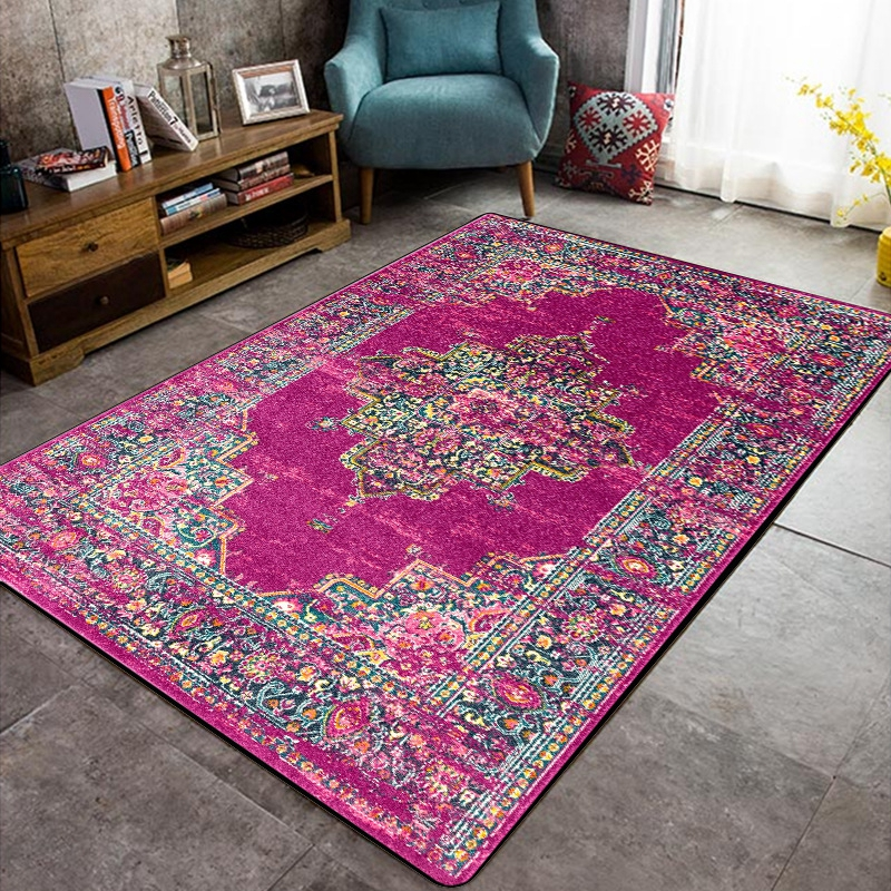Morocco Style Carpets For Living Room Bedroom Sofa Floor Mat Non-Slip Study Room Decor Vintage Purple Floral Pattern Area Rugs