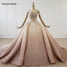 HTL1228 2020 فستان سهرة عربي برقبة على شكل حرف o مطرز بالترتر بنمط كريستال بأربطة من الخلف فستان سهرة فاخر جديد فساتين نسائية