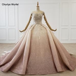 Image 1 - HTL1228 2020 árabe vestido de noche cuello lentejuelas cristal patrón de vuelta lujoso vestido de noche nuevo платья вечерние