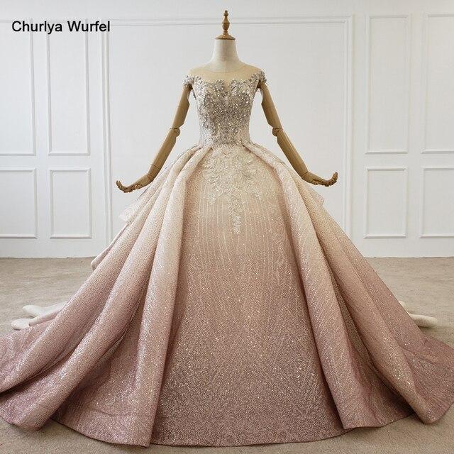 HTL1228 2020 árabe vestido de noche cuello lentejuelas cristal patrón de vuelta lujoso vestido de noche nuevo платья вечерние