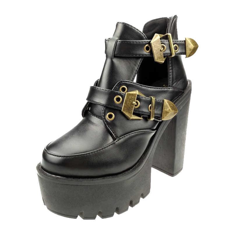 Vrouwen New Fashion Black Punk Gothic Gesp Chunky Hakken Voor Vrouw Holle Out Platform Enkel Laarzen Zwart