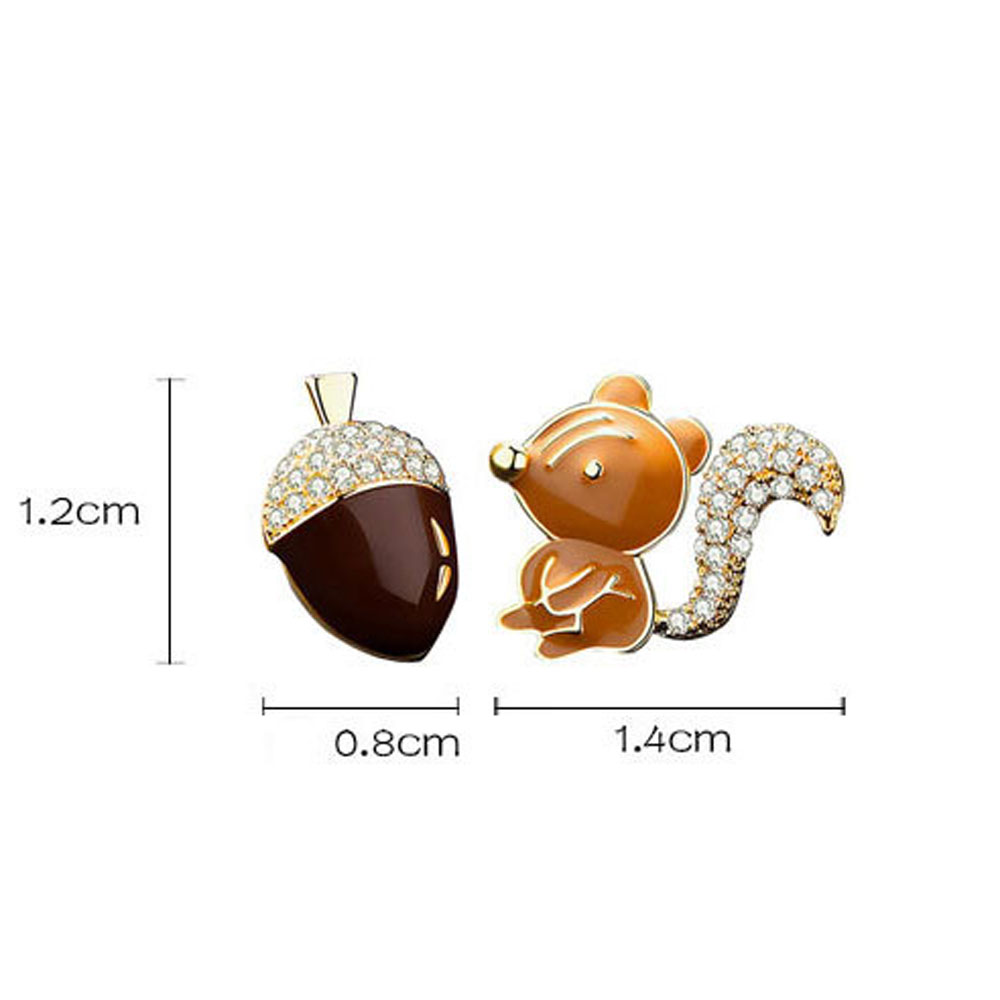 Fashion Cute Stud Earring Squirrel Pine Cone Zircon Crystal Earrings Cartoon Animal Earrings Wedding Jewelry Christmas Gift