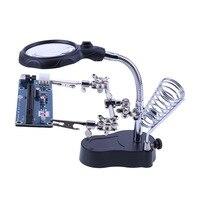溶接拡大鏡 Led ライト 3.5X-12X レンズ補助クリップルーペデスクトップ拡大鏡サードハンドはんだ修復ツール