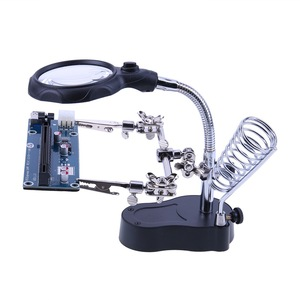 Welding Magnifying Glass with LED Light 3.5X-12X lens Auxiliary Clip Loupe Desktop Magnifier Third Hand Soldering Repair Tool(China)