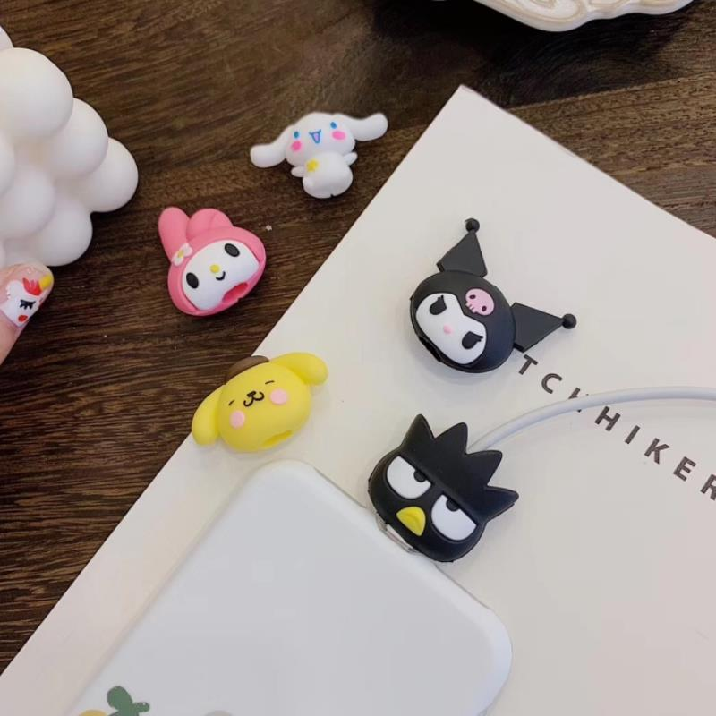 1pc New Cartoon Sanrio My Melody Kuromi Silicone Cable Protector Pudding Cinnamoroll Dog Doll Anime Line Protector Figure Toys