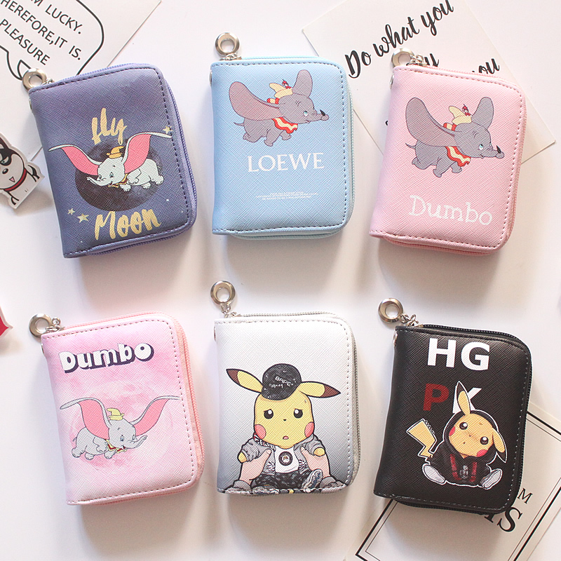Dumbo Cartoon Style Korean Schoolgirl Purse  Hand-held Zero Wallet Girl Wallets Slim Zipper  Women Wallets