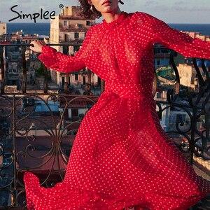 Image 2 - Simplee Autumn women party dress Elegant polka dot print female long party dress Holiday style ladies ruffle maxi dress vestidos