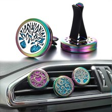 New Colorful Aroma Essential Oil Diffuser Car Clip Tree of Life Aromatherapy Necklace Air Freshener Perfume Lockets