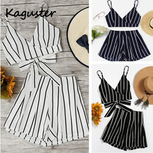 купить 2019 Fashion Women Sets Two Pieces Sexy Crop Top Tie Bow with High Elastic Waist Shorts Suit Outfits Beachwear Striped Suits по цене 884.48 рублей