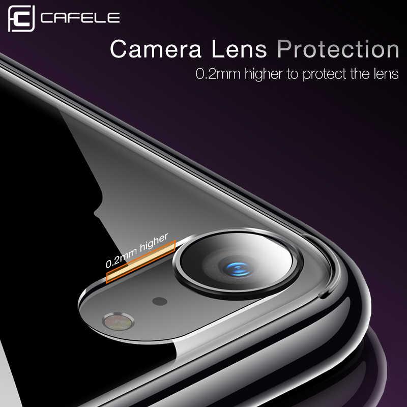 Cafele original caso de vidro para iphone 7 8 se 2020 transparente capa para apple iphone se 4.7 anti-risco de vidro de volta coque