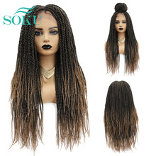 Wigs Braiding Synthetic Black-Women Straight Long Fashion SOKU Crochet for Middle-Part