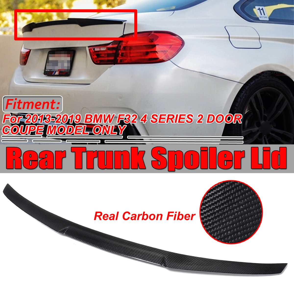 FOR CARBON FIBER 4-SERIES F32 Coupe M4 Style PERFORMANCE REAR WING TRUNK SPOILER