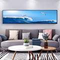 Blue Sea and Flying Seagulls Landscape Art Posters and Prints Canvas Paintings Wall Art Pictures for Living Room Decor(No Frame)