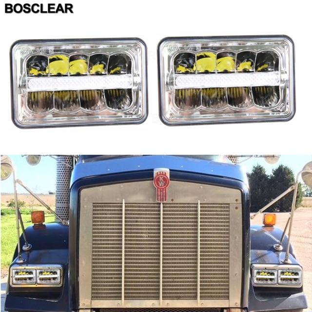 Ford Trucks off rord Signal de virage | Voiture, carré lumière blanche, Halo DRL ambre scellé remplacement du faisceau haut/bas pour camions Ford off rord, 4X6 2 pièces