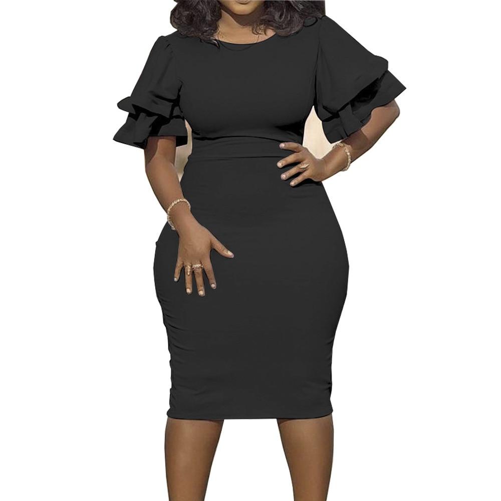Large size XL-5XL Sudress 2019 Women's Dress O-Neck lanterm Sleeve Slim Night Solid Party short dress (9)